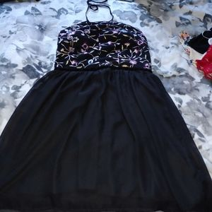 Black and Gold Flower Embroidered Dress
